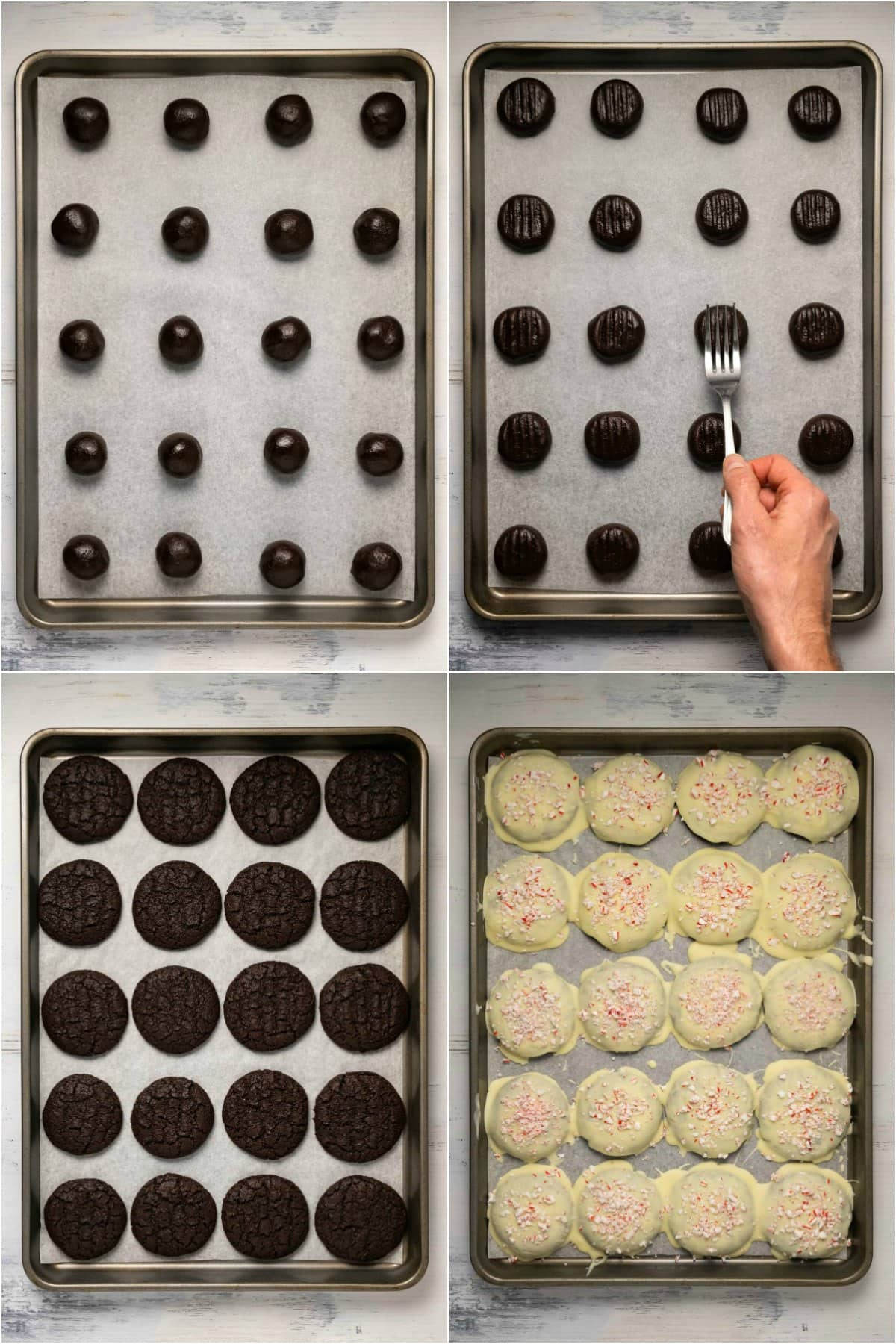 Step by step process photo collage of making peppermint cookies.