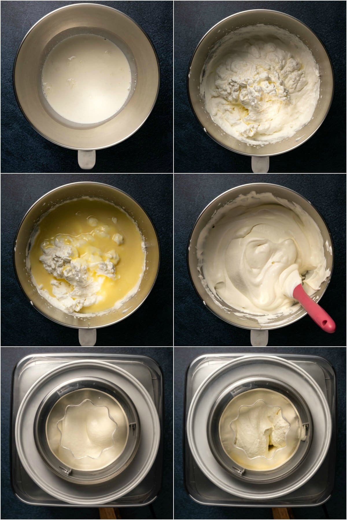 Step by step process photo collage of making peppermint ice cream.