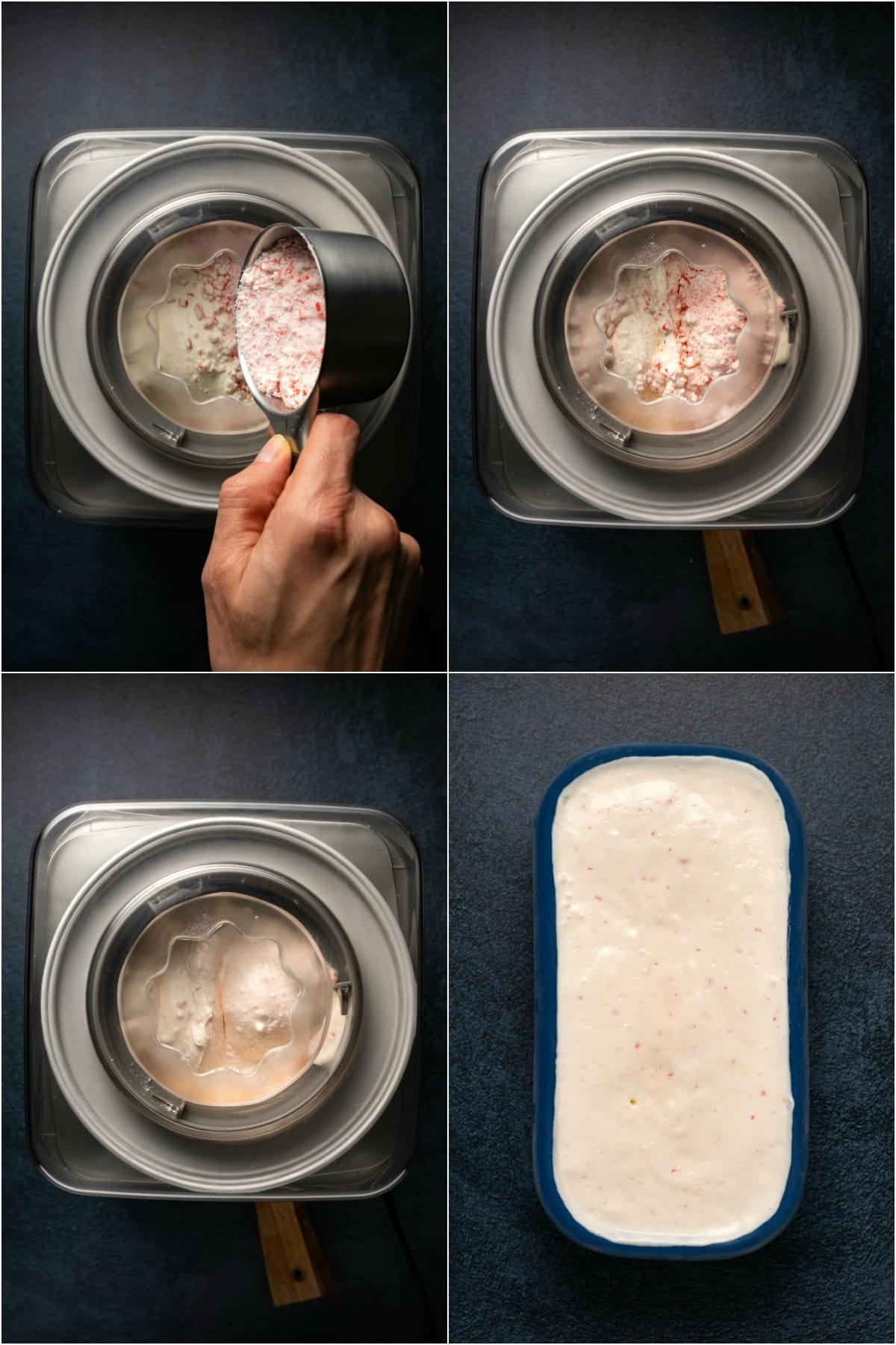 Step by step process photo collage of churning peppermint ice cream.