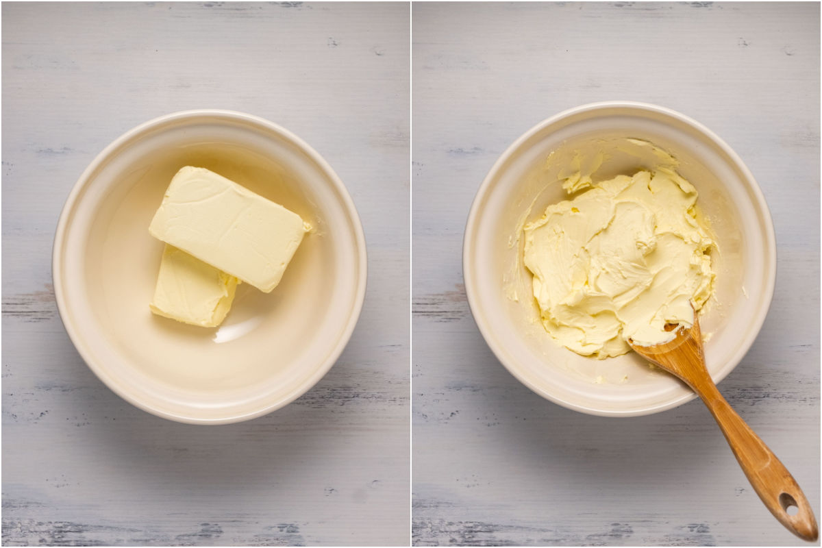 Collage of two photos showing blocks of cream cheese in a mixing bowl and then mixed with a spoon.