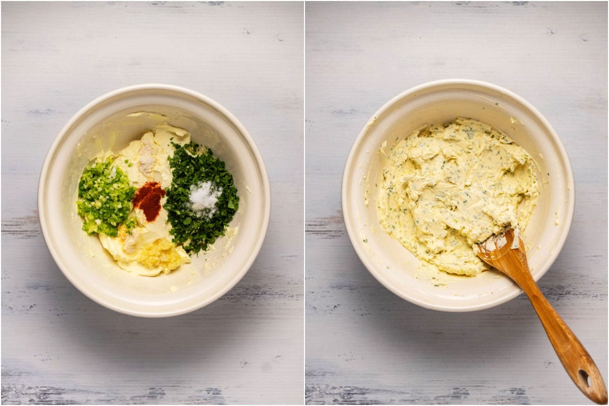 Collage of two photos showing fresh ingredients added to cream cheese and mixed in.