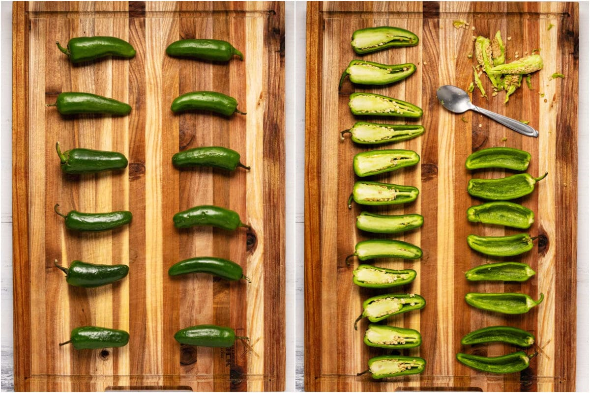 Two photo collage showing whole peppers and then sliced in half and scooped.