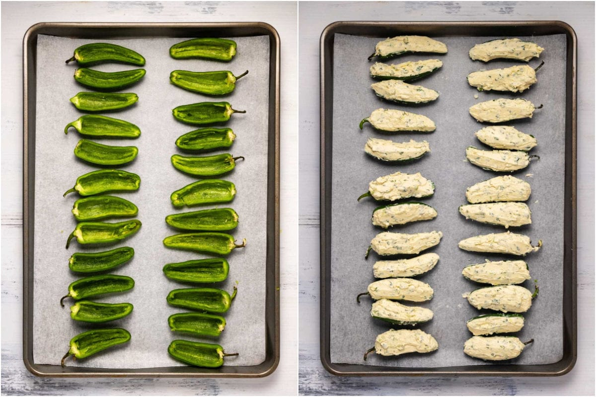 Collage of two photos, hollowed peppers that are then filled with cream cheese.