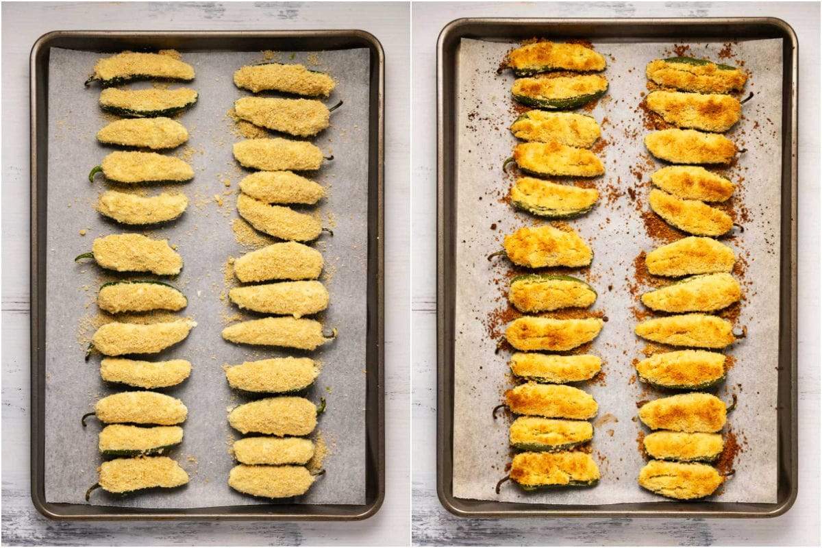 Two photo collage showing jalapeño poppers before and after baking.
