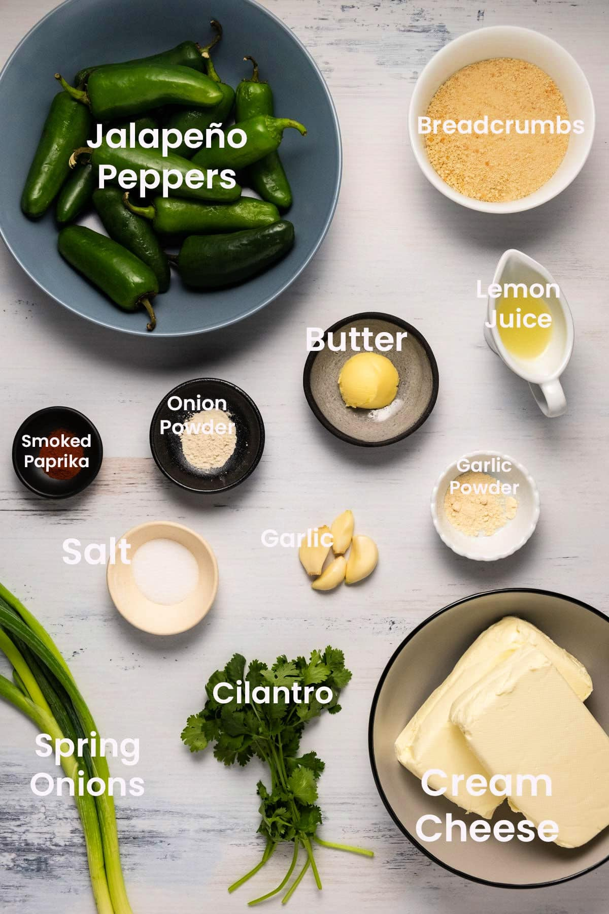 Ingredients to make baked jalapeño poppers.