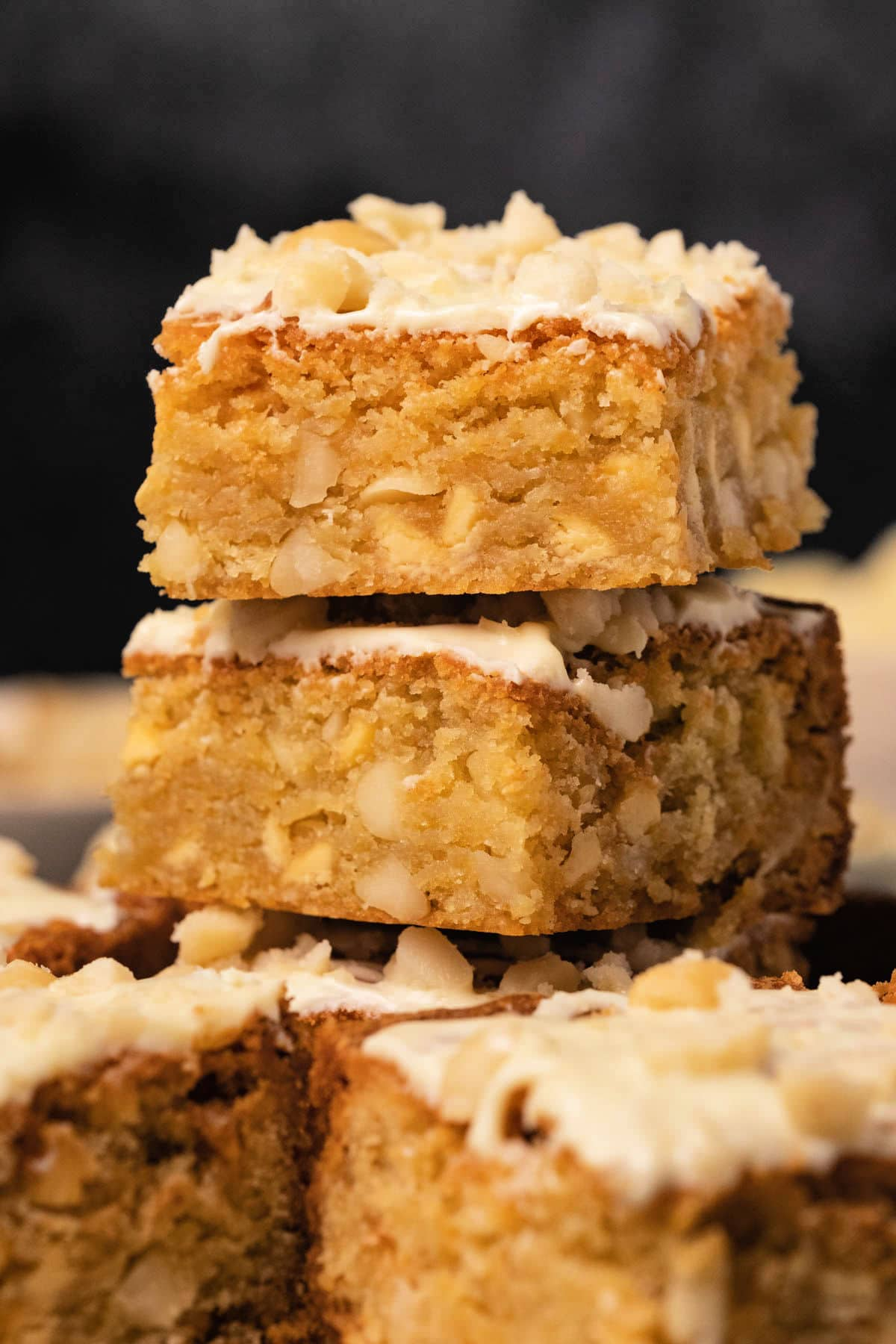 Blondies in a stack.