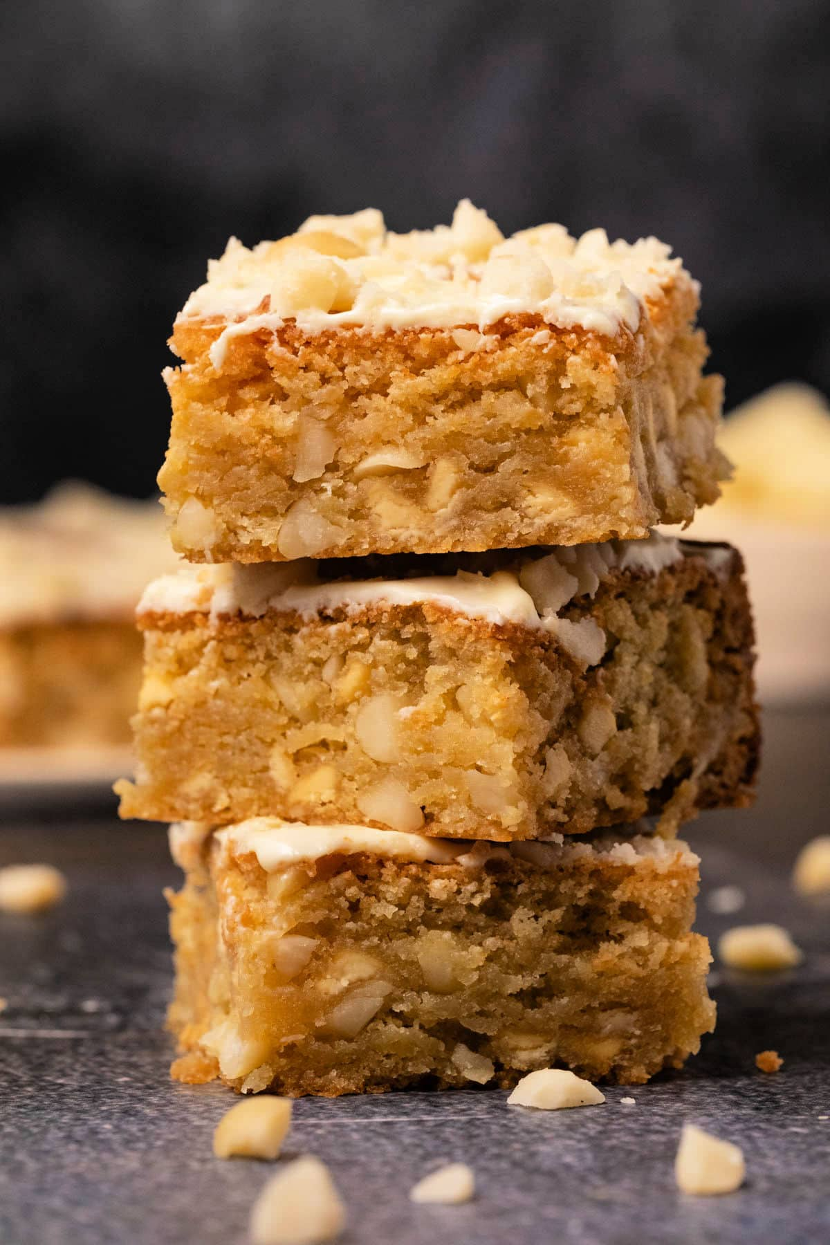Stack of three blondies.