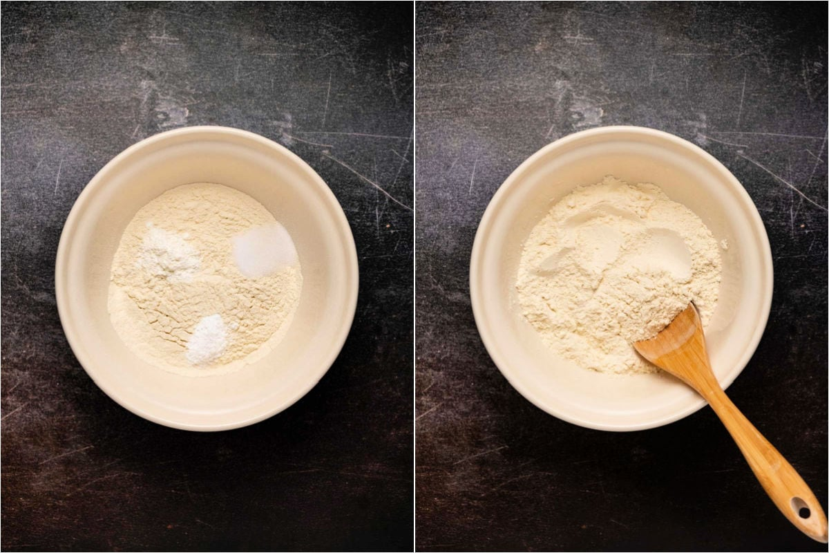 Collage of two photos showing mixing of dry ingredients.