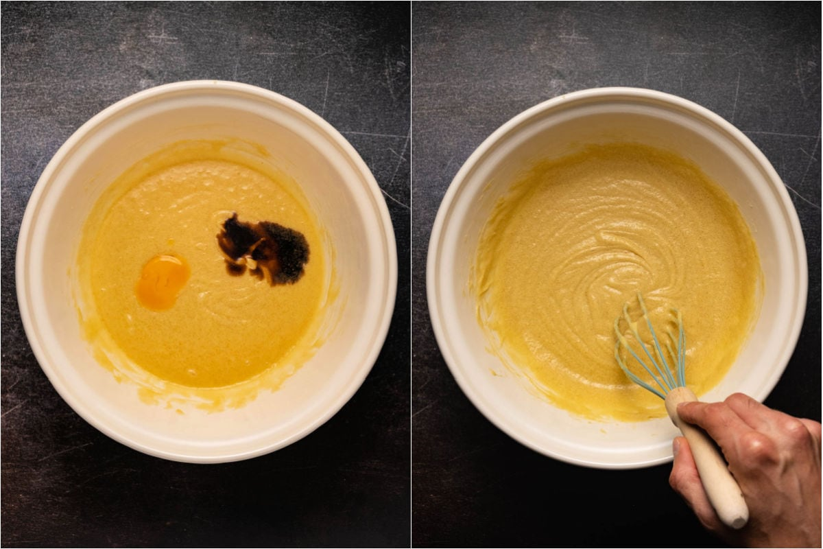 Collage of two photos showing eggs and vanilla mixing into the batter.