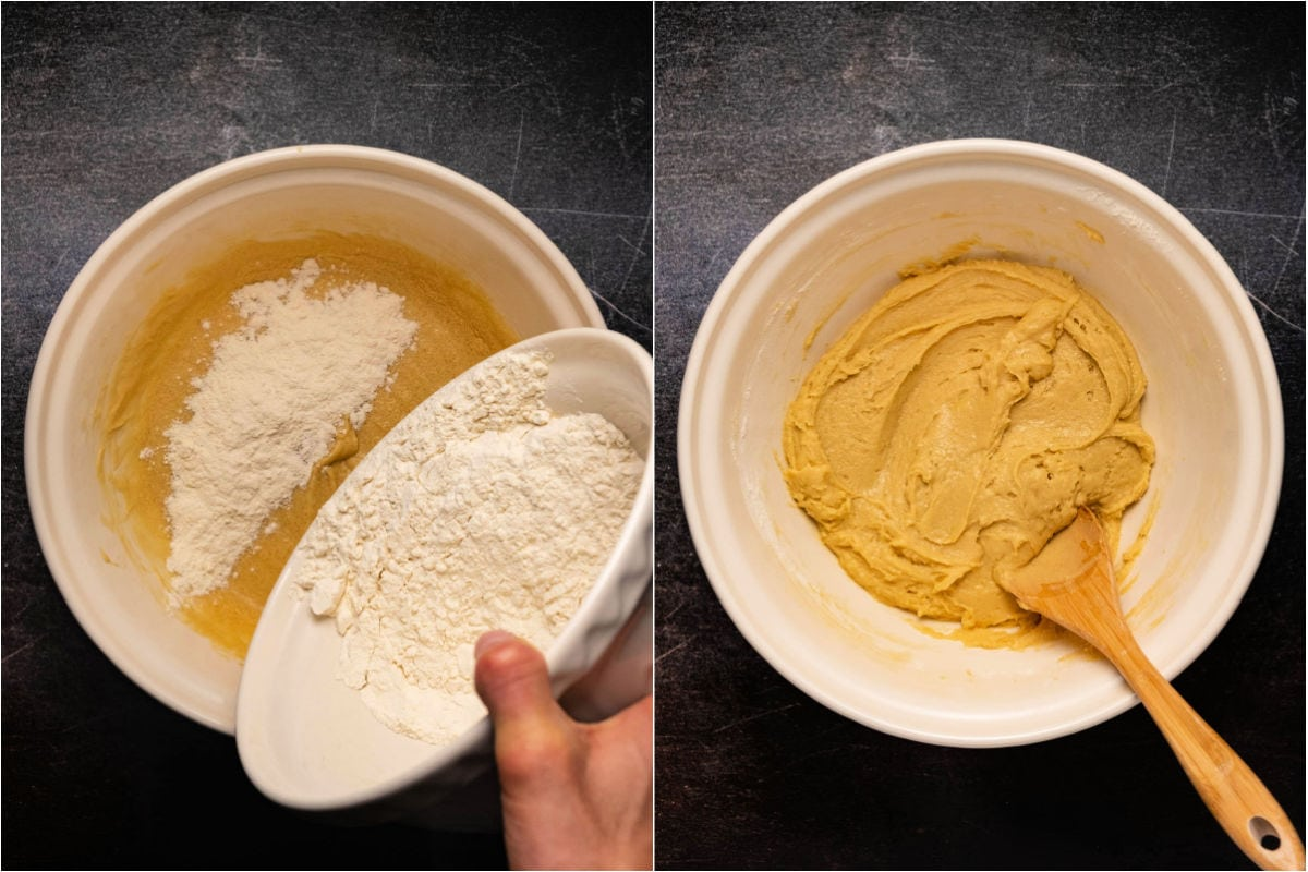 Two photo collage showing dry ingredients being added to batter.