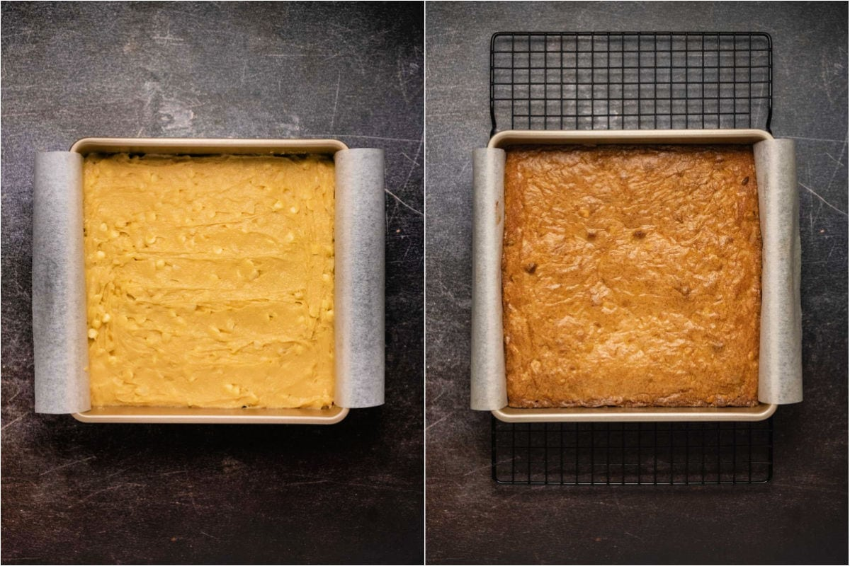 Two photo collage showing blondies before and after baking.