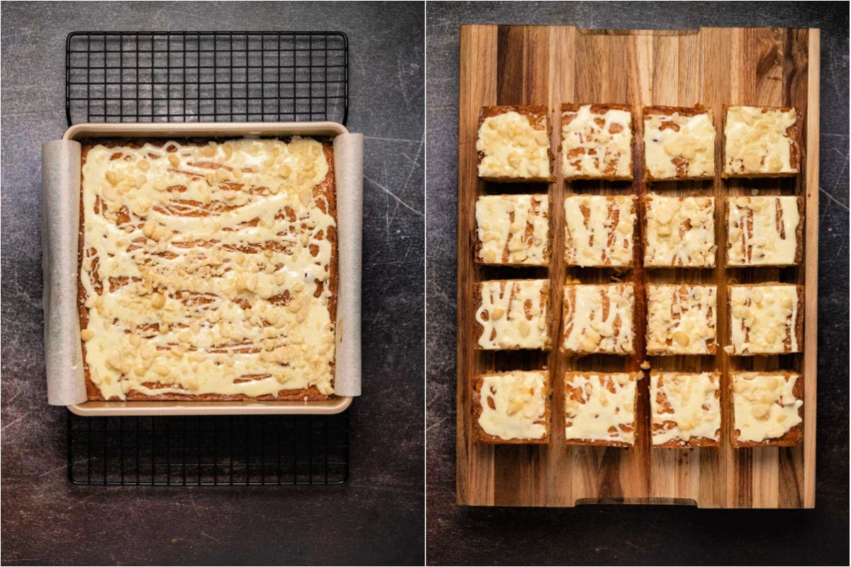 Two photo collage showing blondies in the baking dish and then on a wooden board cut into squares.