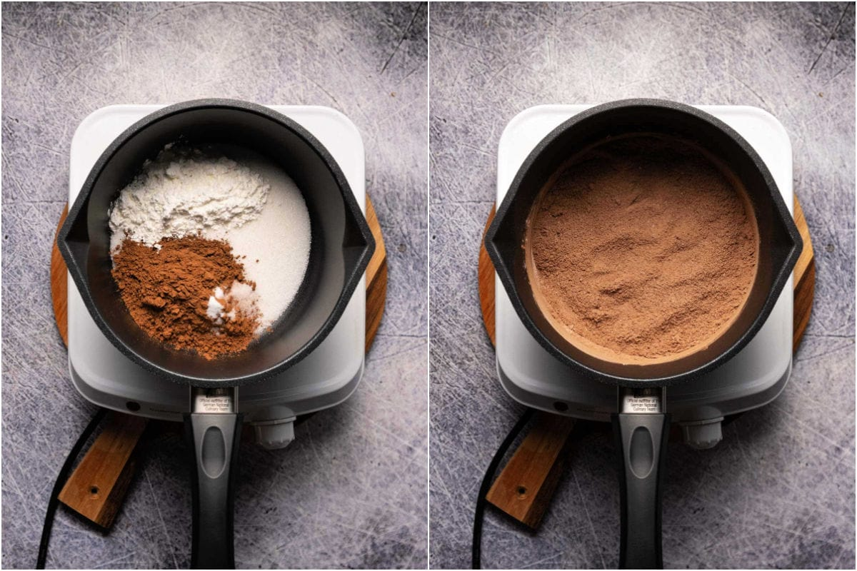 Collage of two photos showing mixing dry ingredients for chocolate pudding.