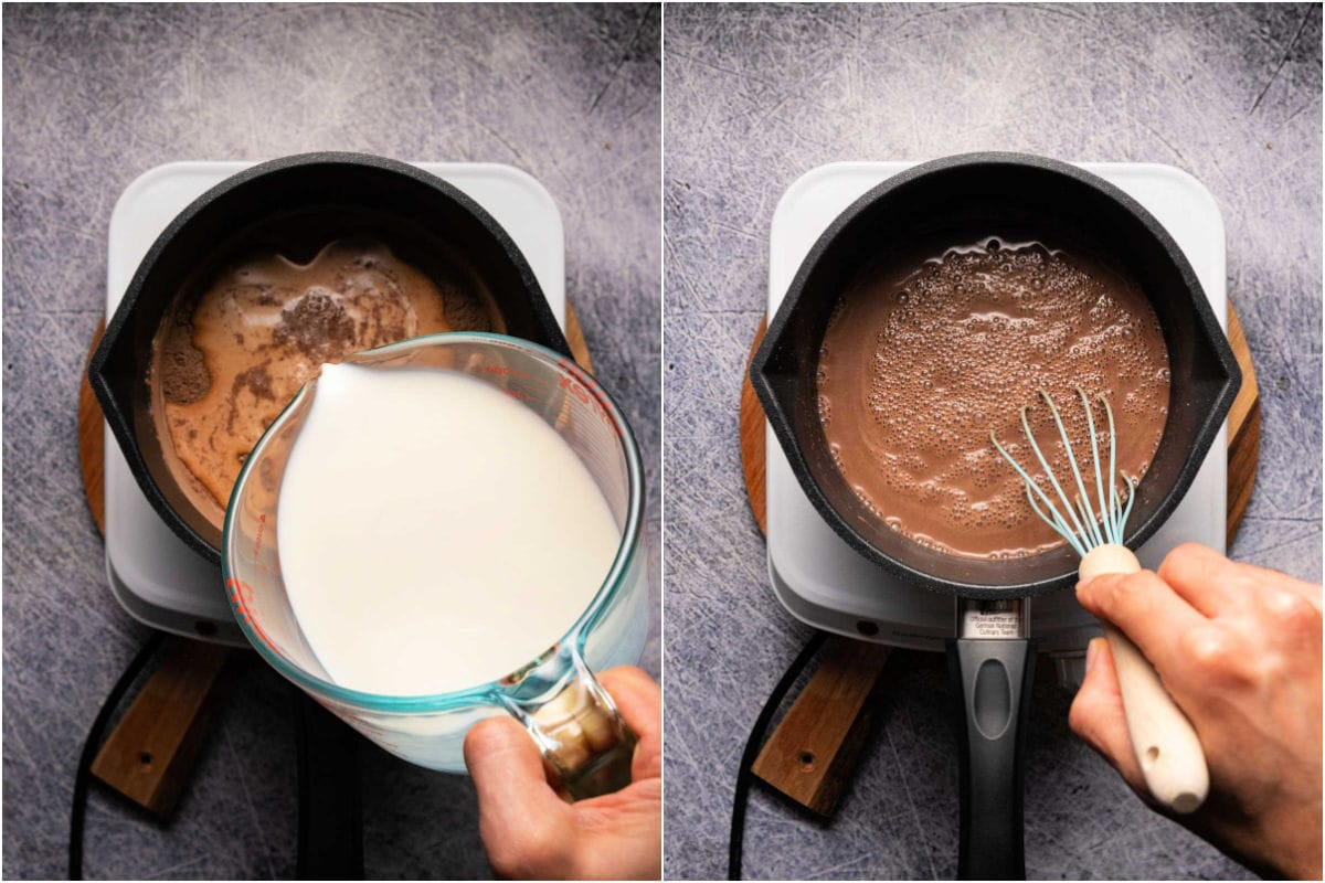 Collage of two photos showing adding milk and whisking into pudding.