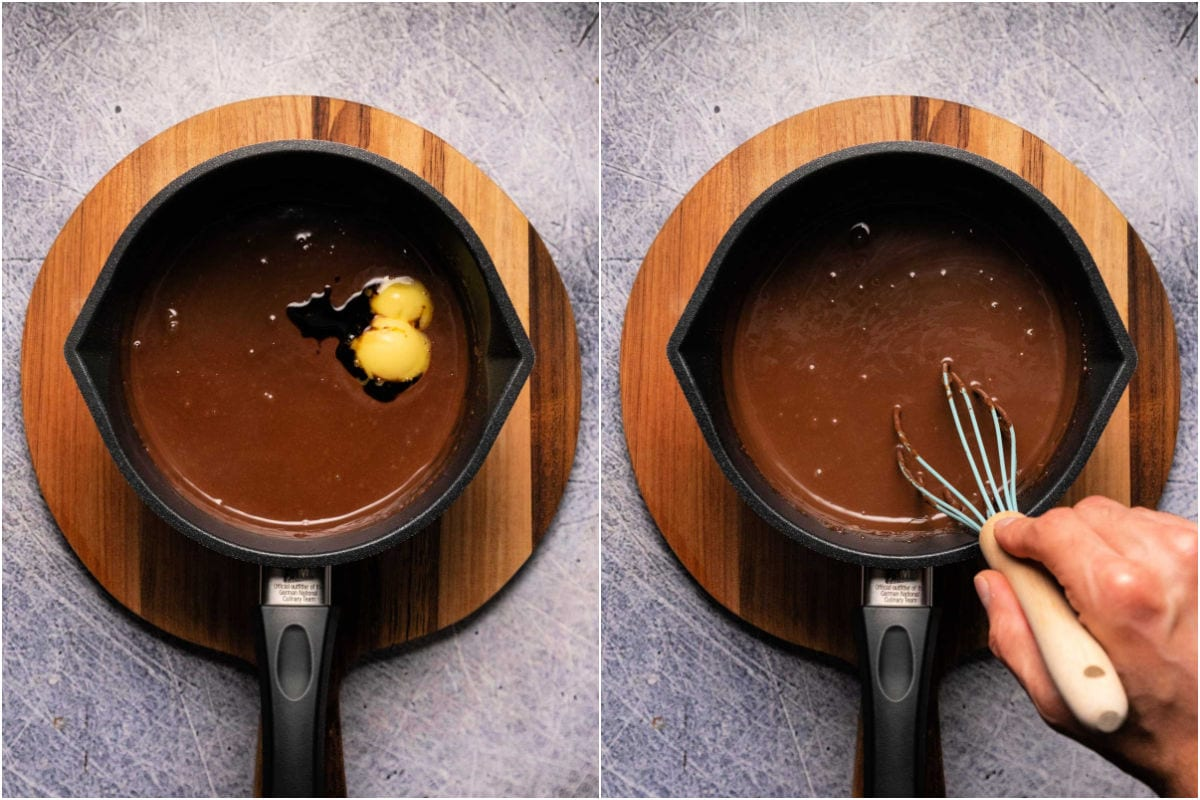 Collage of two photos showing adding butter and vanilla and whisking into pudding.