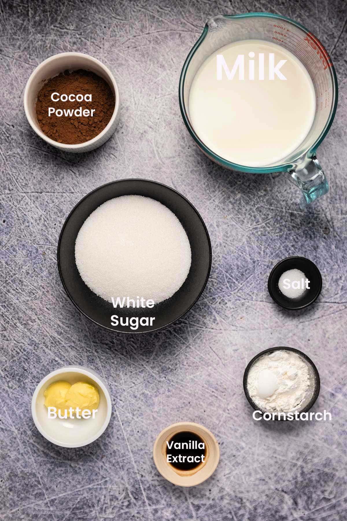 Ingredients to make chocolate pudding.