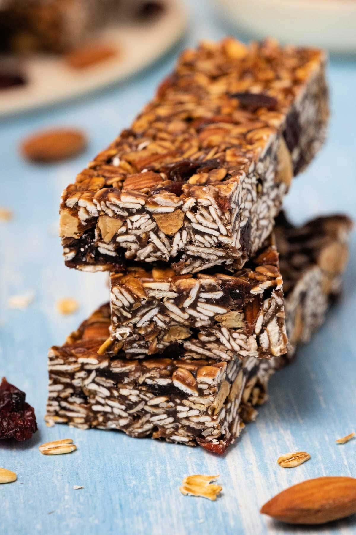 Stack of three granola bars.