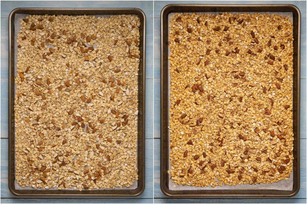 Two photo collage showing step by step process of toasting rolled oats and nuts for granola bars.