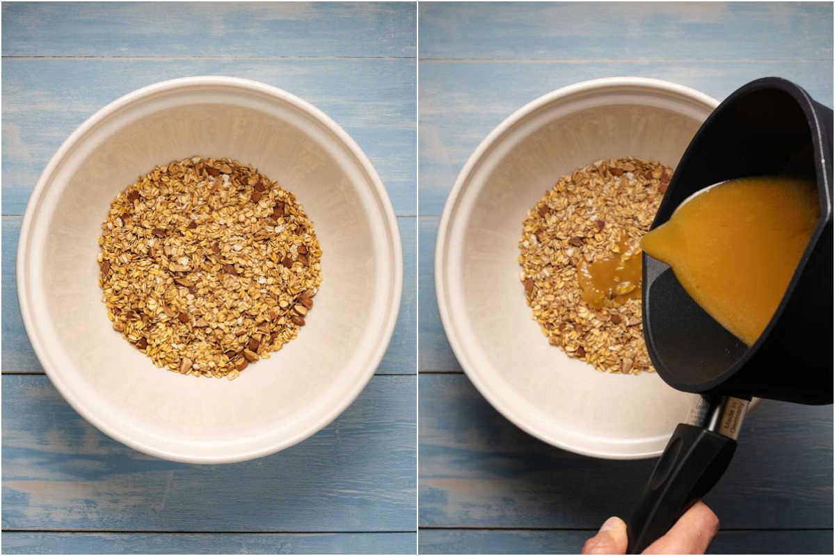 Two photo collage showing step by step process of pouring melted butter, sugar and honey over rolled oats and nuts.
