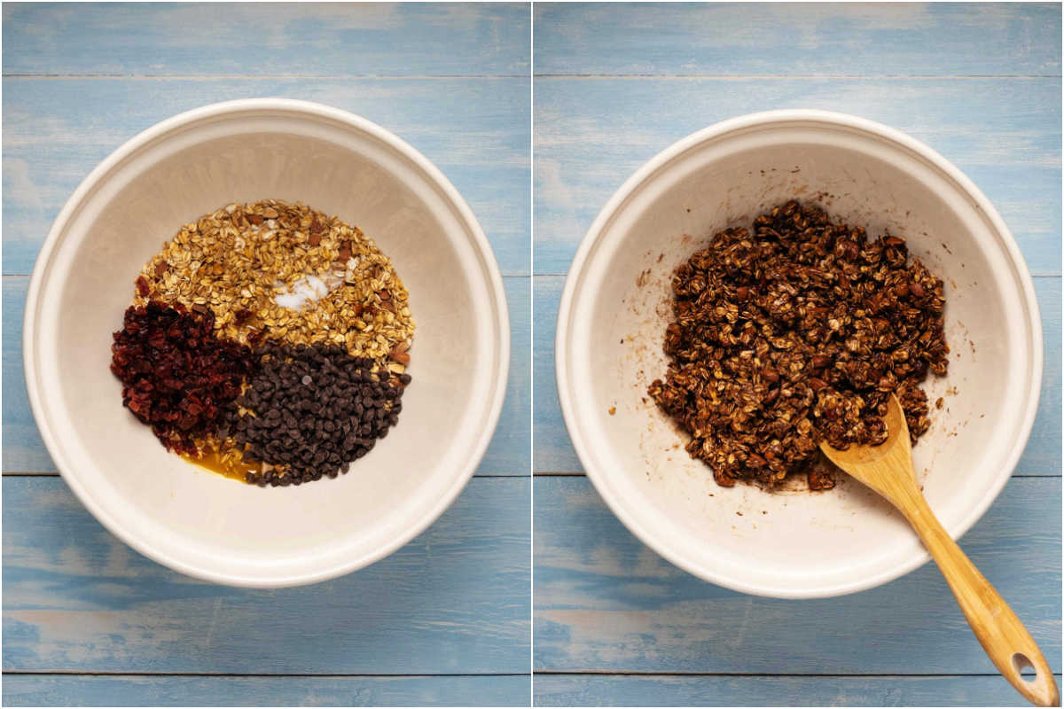 Two photo collage showing the step by step process of mixing the ingredients for granola bars.