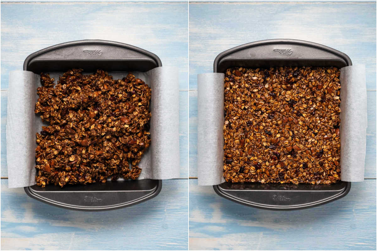 Two photo collage showing step by step process of transferring granola bar mix to prepared 8x8 dish.