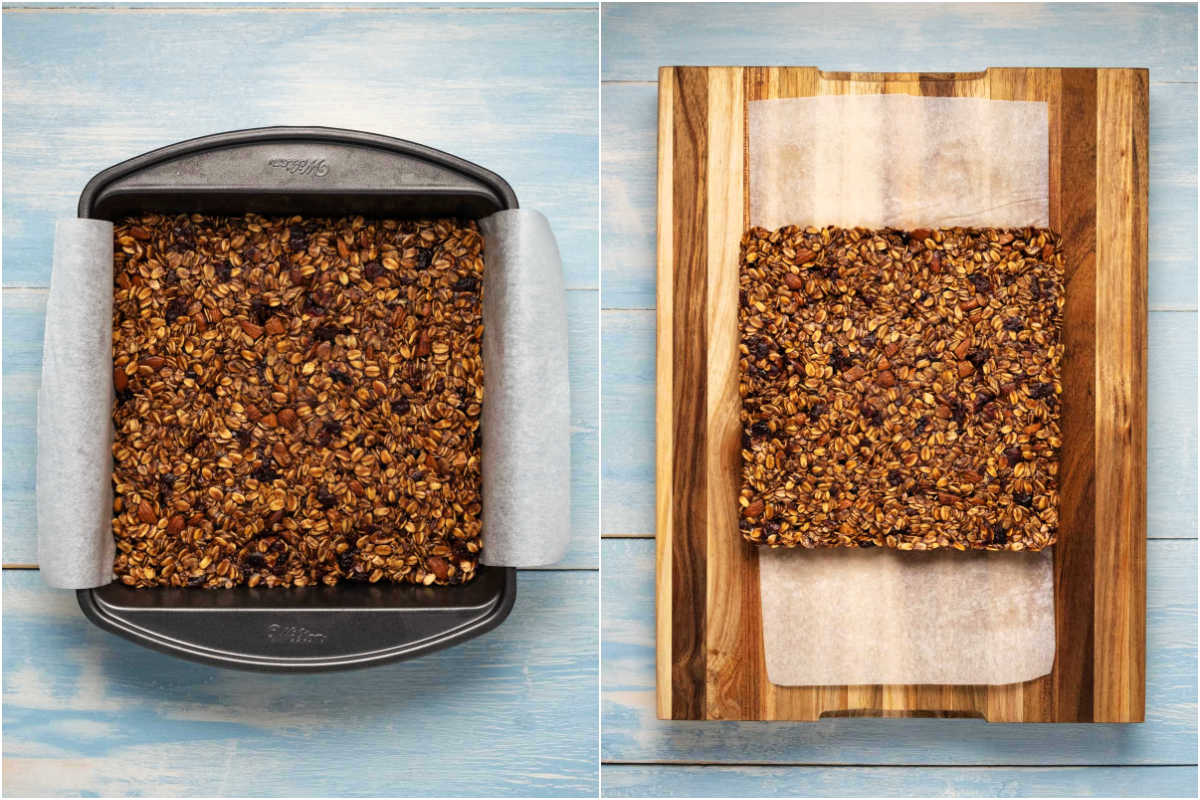 Two photo collage showing the set granola bars and removing them from the dish.
