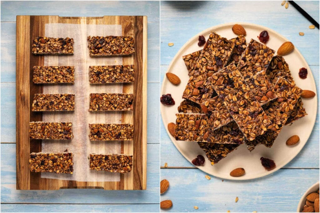 Two photo collage showing the set granola bars cut into bars and served on a plate.