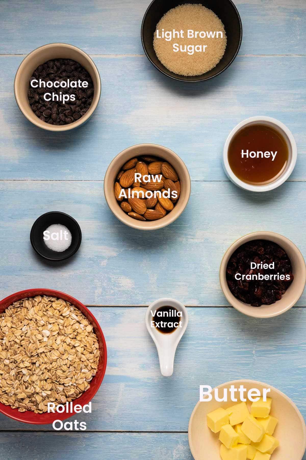 Ingredients for granola bars.