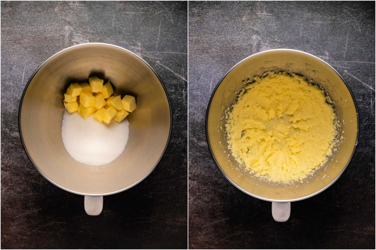 Collage of two photos showing butter and sugar in a bowl and then creamed together.