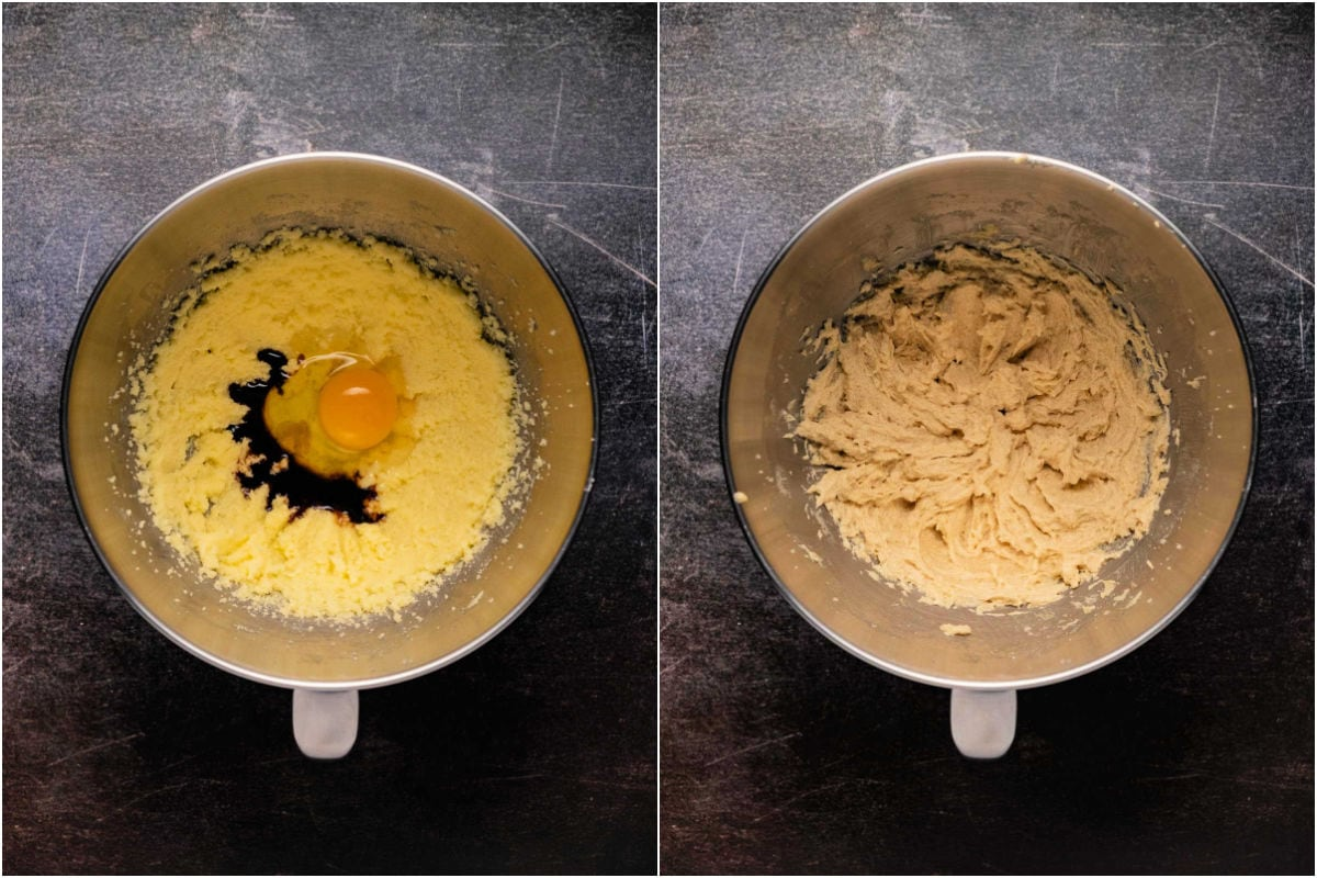 Collage of two photos showing egg and vanilla added to butter and sugar and mixed together.