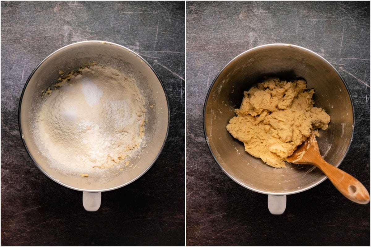 Two photo collage showing dry ingredients added in with wet and mixed in.