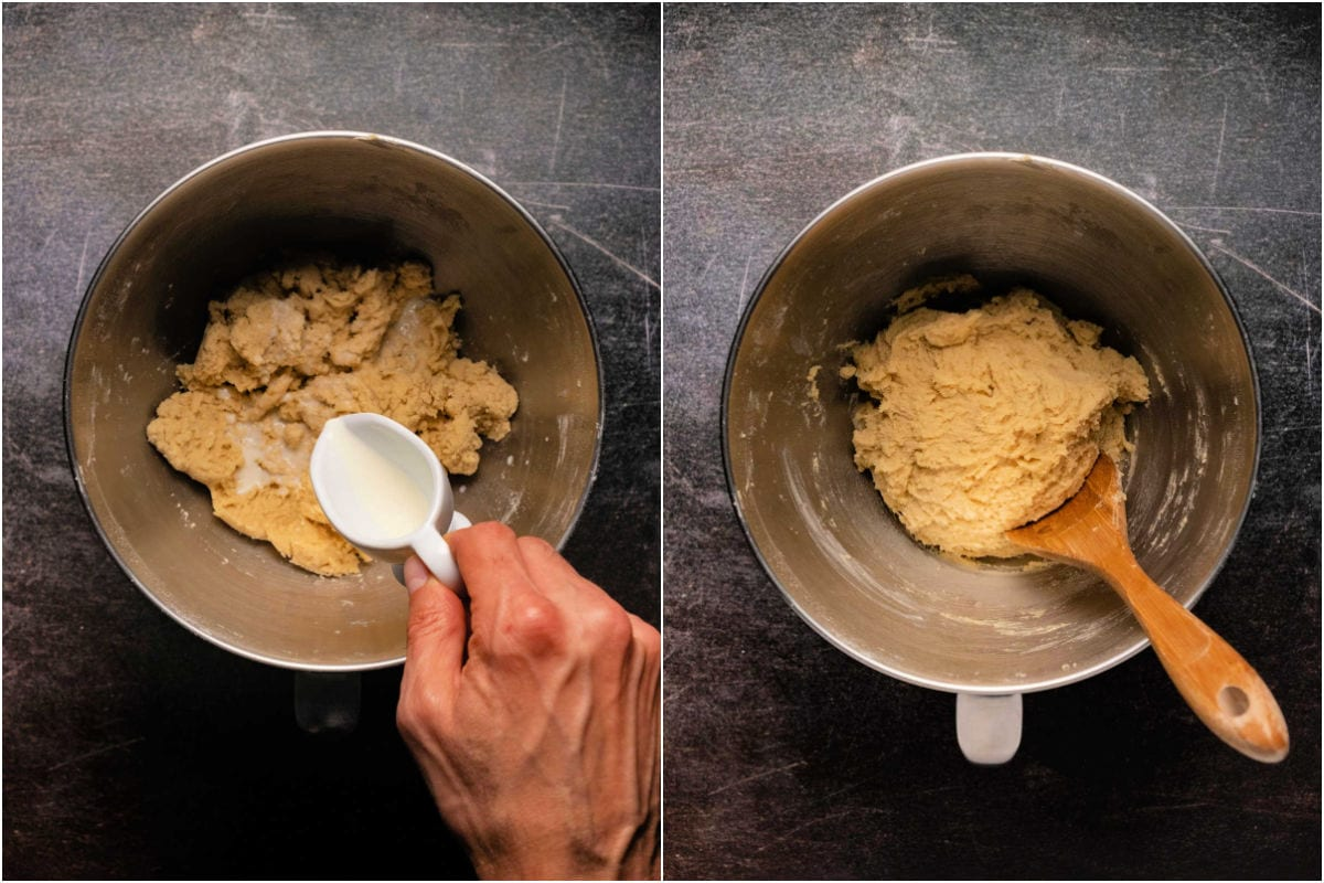Collage of two photos showing adding milk and mixing in.