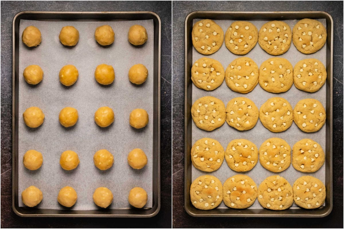 Collage of two photos showing cookies before and after baking.