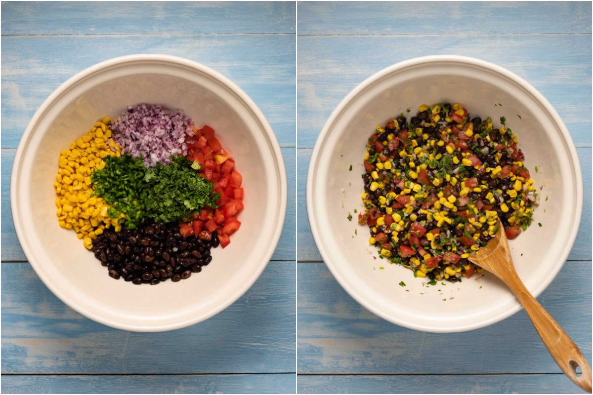 Collage of two photos showing ingredients for salsa in a bowl and then mixed.