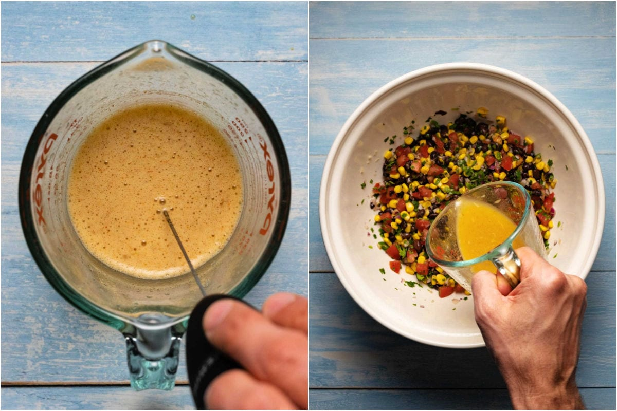 Collage of two photos showing whisking a salad dressing in a measuring jug and then pouring it over the salsa.