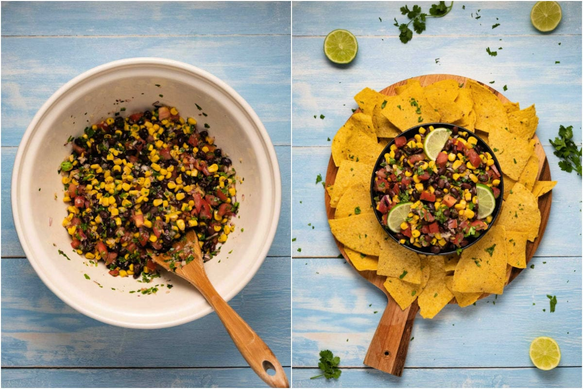 Collage of two photos showing salsa mixed in bowl and then served with a platter of corn chips.