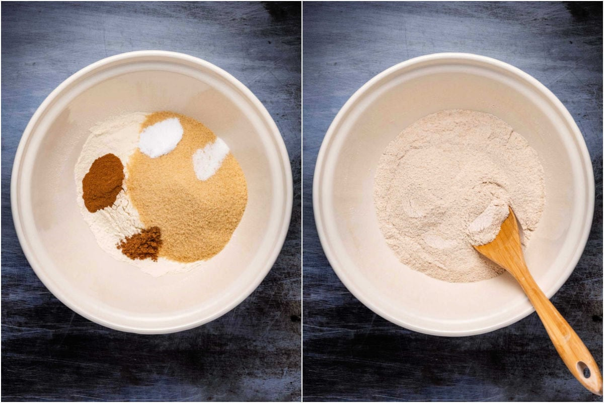 Collage of two photos showing dry ingredients added to mixing bowl and mixed in.