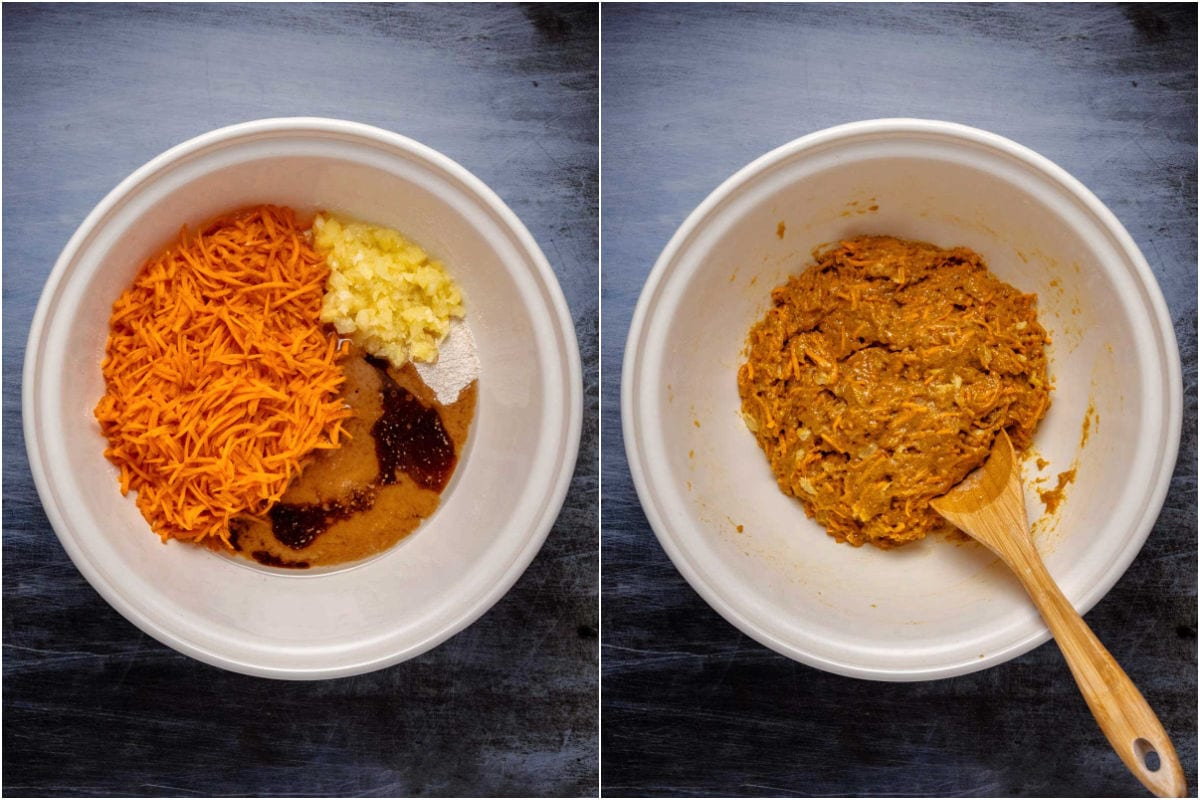 Collage of two photos showing wet ingredients added to mixing bowl and mixed in.