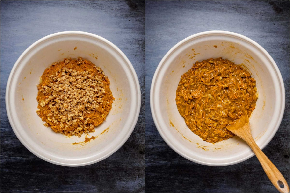 Collage of two photos showing walnuts added to batter and mixed in.