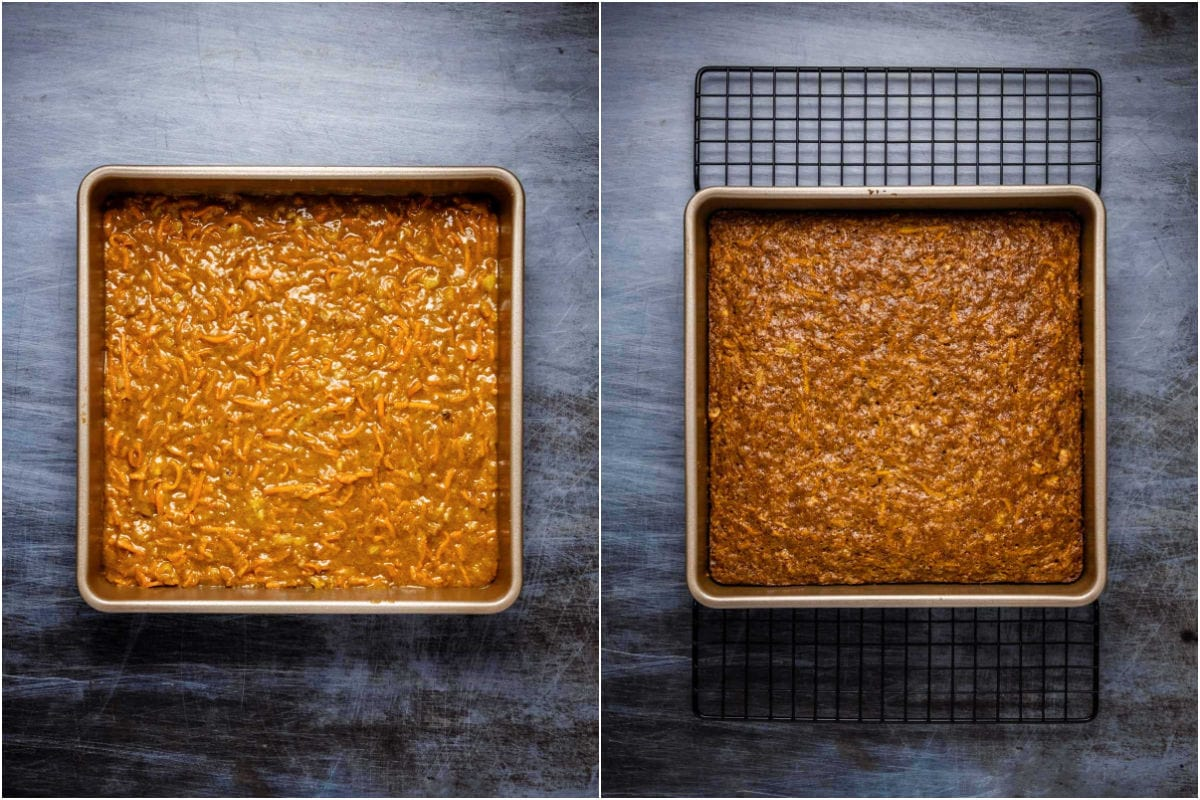 Collage of two photos showing carrot cake in a square dish before and after baking.