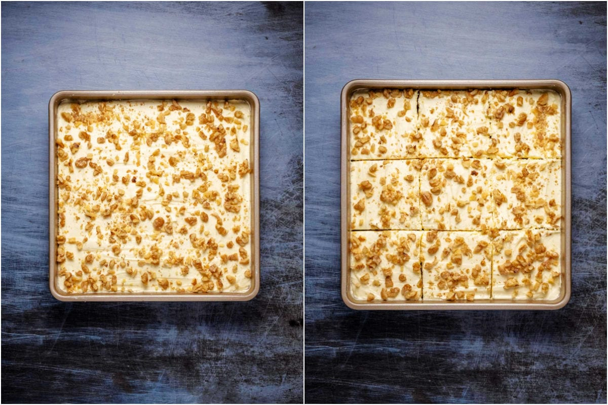 Collage of two photos showing frosted and decorated cake and then sliced into squares.