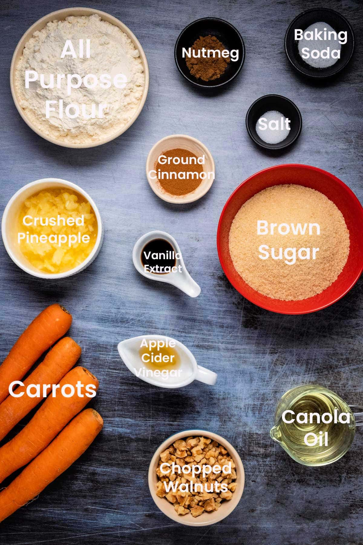 Photo of ingredients needed to make carrot cake.