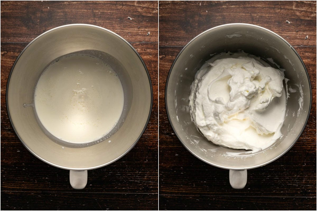 Two photo collage of cream added to stand mixer and then whipped.