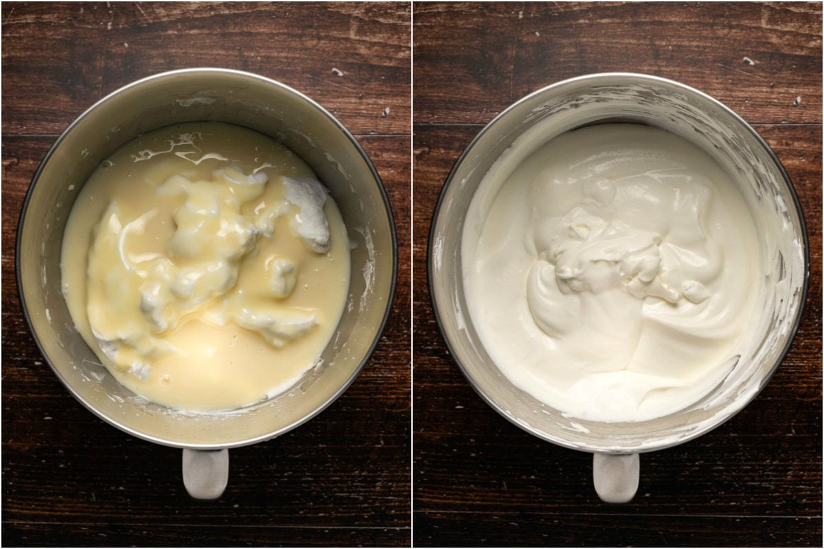 Collage of two photos showing condensed milk added to whipped cream and folded in.