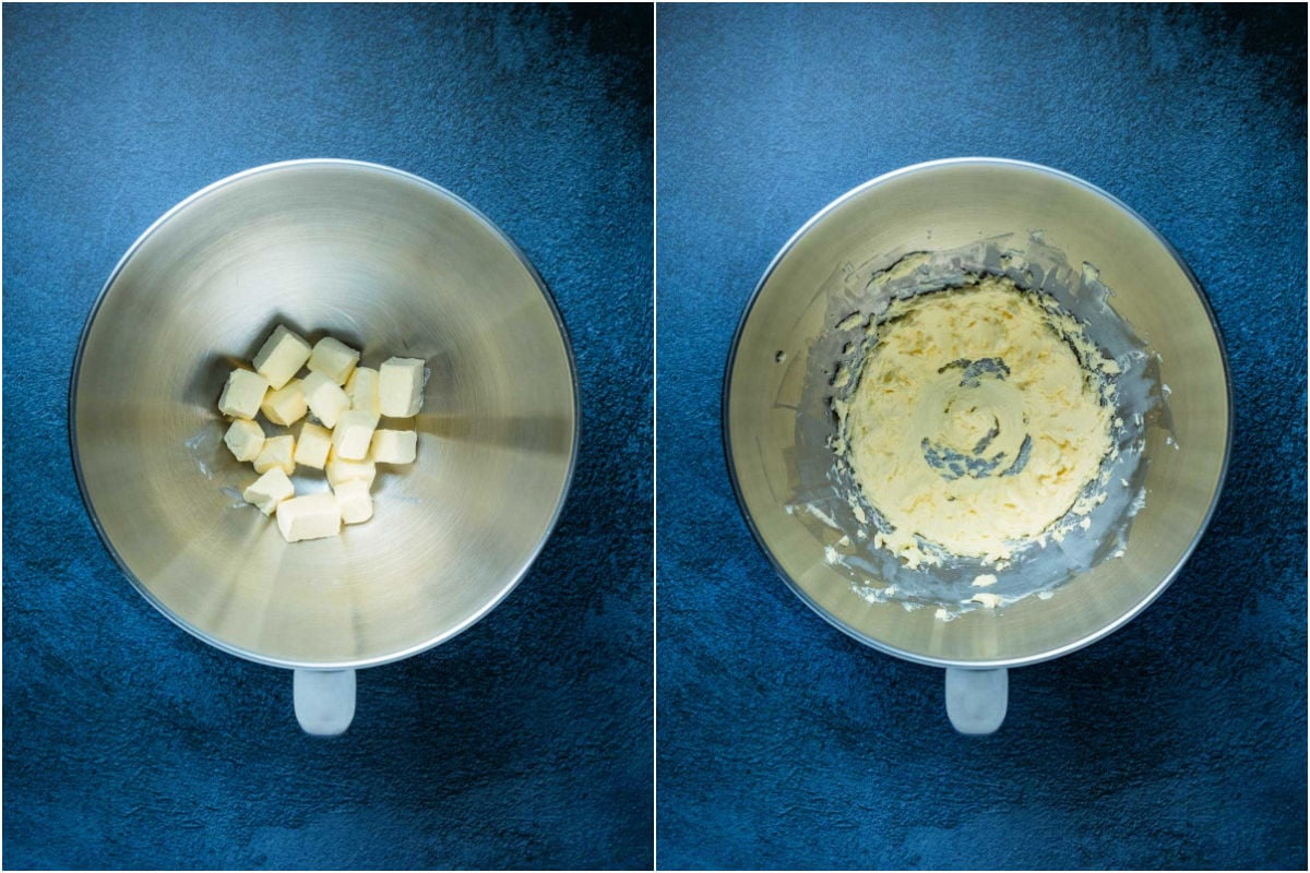 Collage of two photos showing cream cheese in a stand mixer and then whipped till smooth.