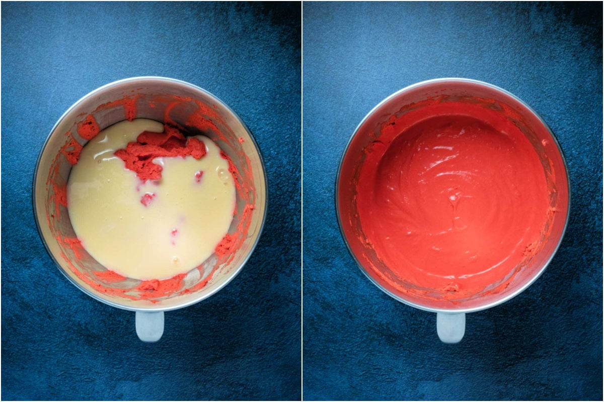 Collage of two photos showing sweetened condensed milk added to stand mixer and mixed in.