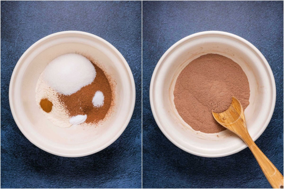 Two photo collage showing dry ingredients added to mixing bowl and then mixed.
