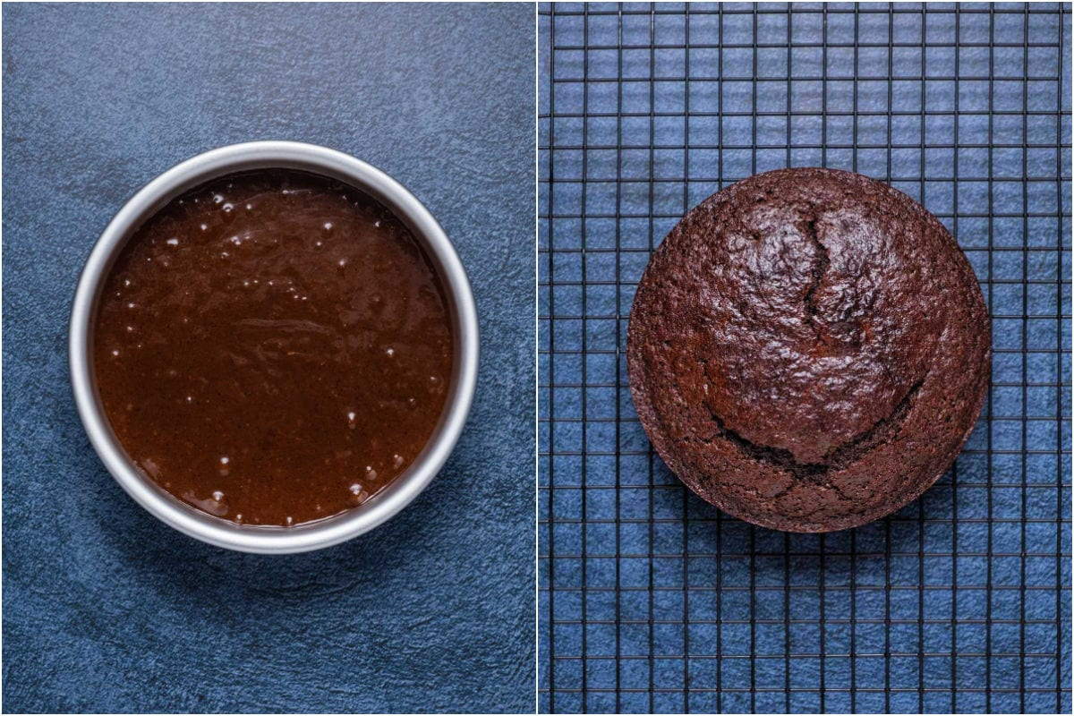 Two collage photo showing the cake before and after baking.