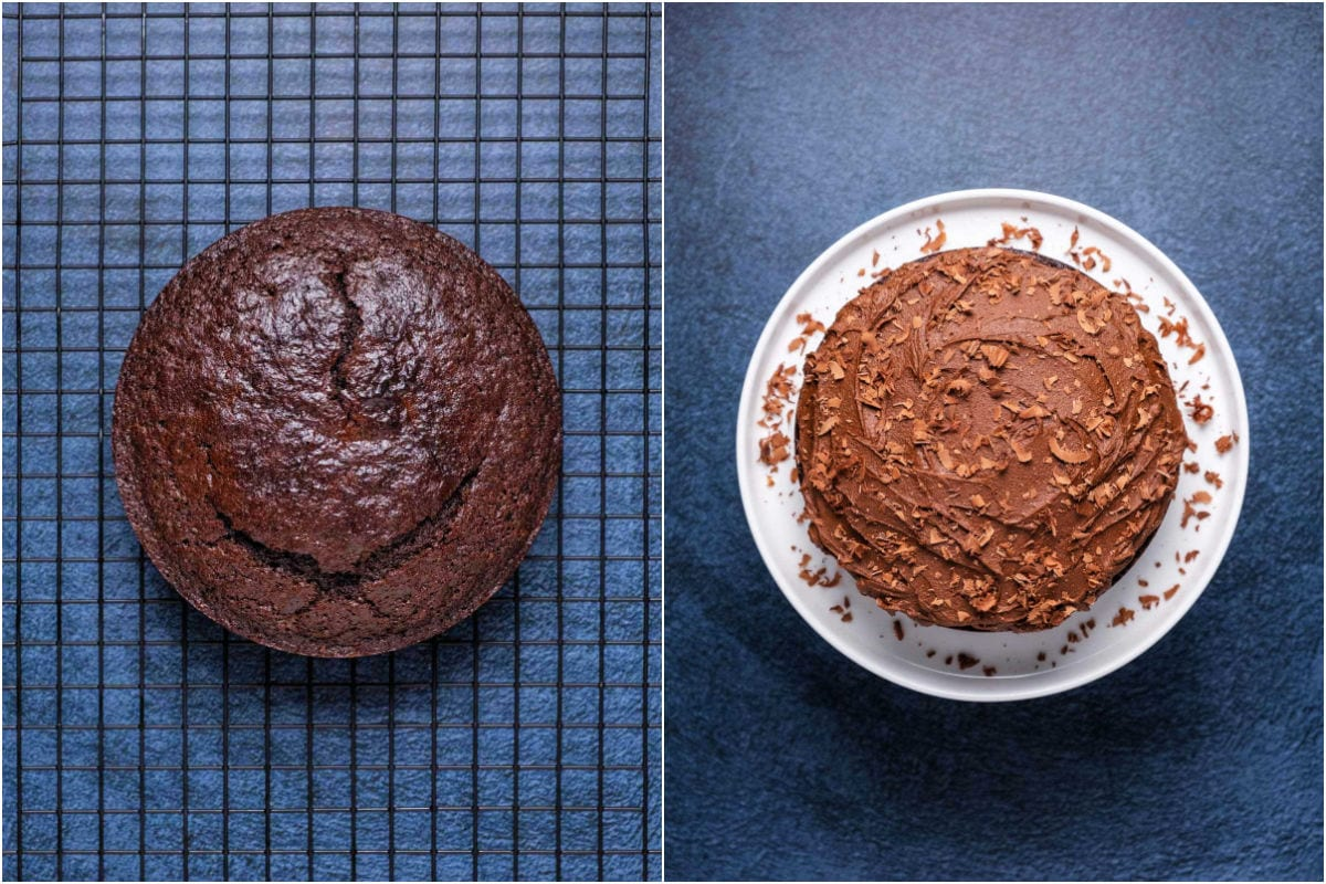 Two photo collage showing cake before and after frosting.