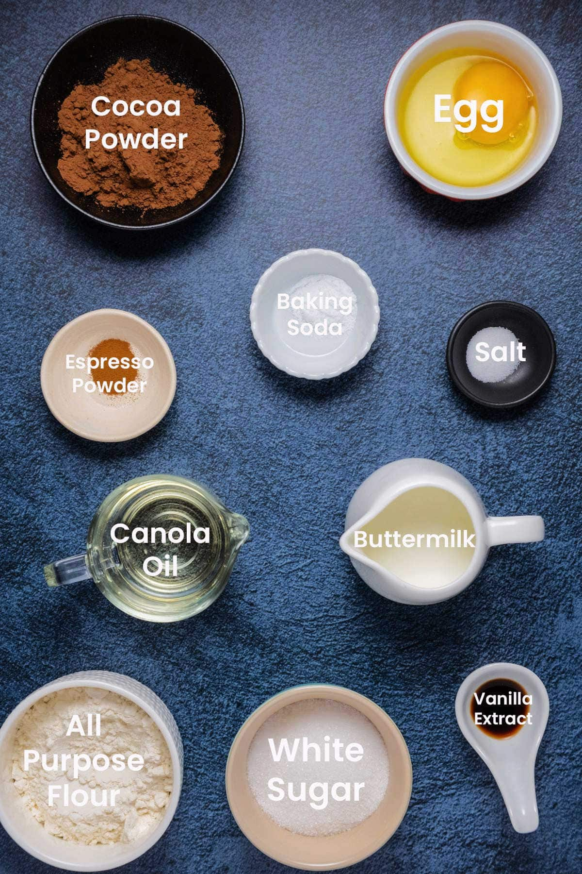 Photo of the ingredients needed to make a small chocolate cake.